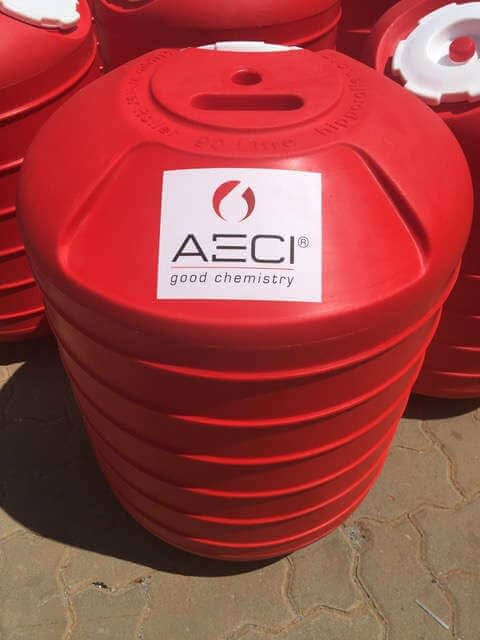 AECI branding on a hippo roller drum